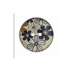 Botón Madera Flores